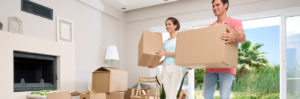 Professional mover helping woman move home